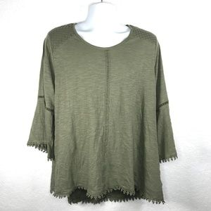 Style & Co Plus Size Crochet Accents Tee Olive